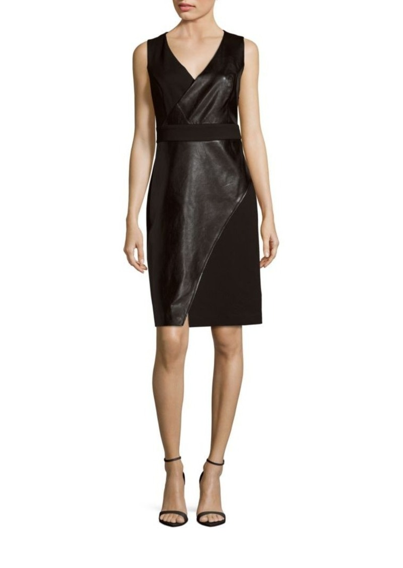 Laundry by Shelli Segal Faux Leather Sleeveless Sheath Dress