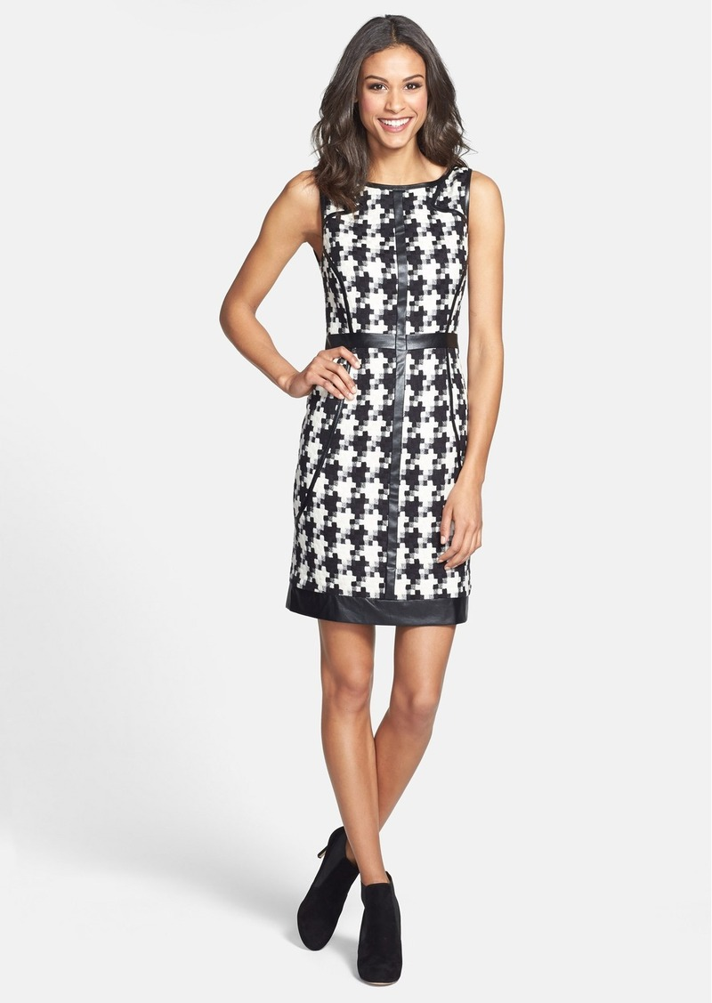 Laundry by Shelli Segal Faux Leather Trim Houndstooth Sheath Dress (Petite)