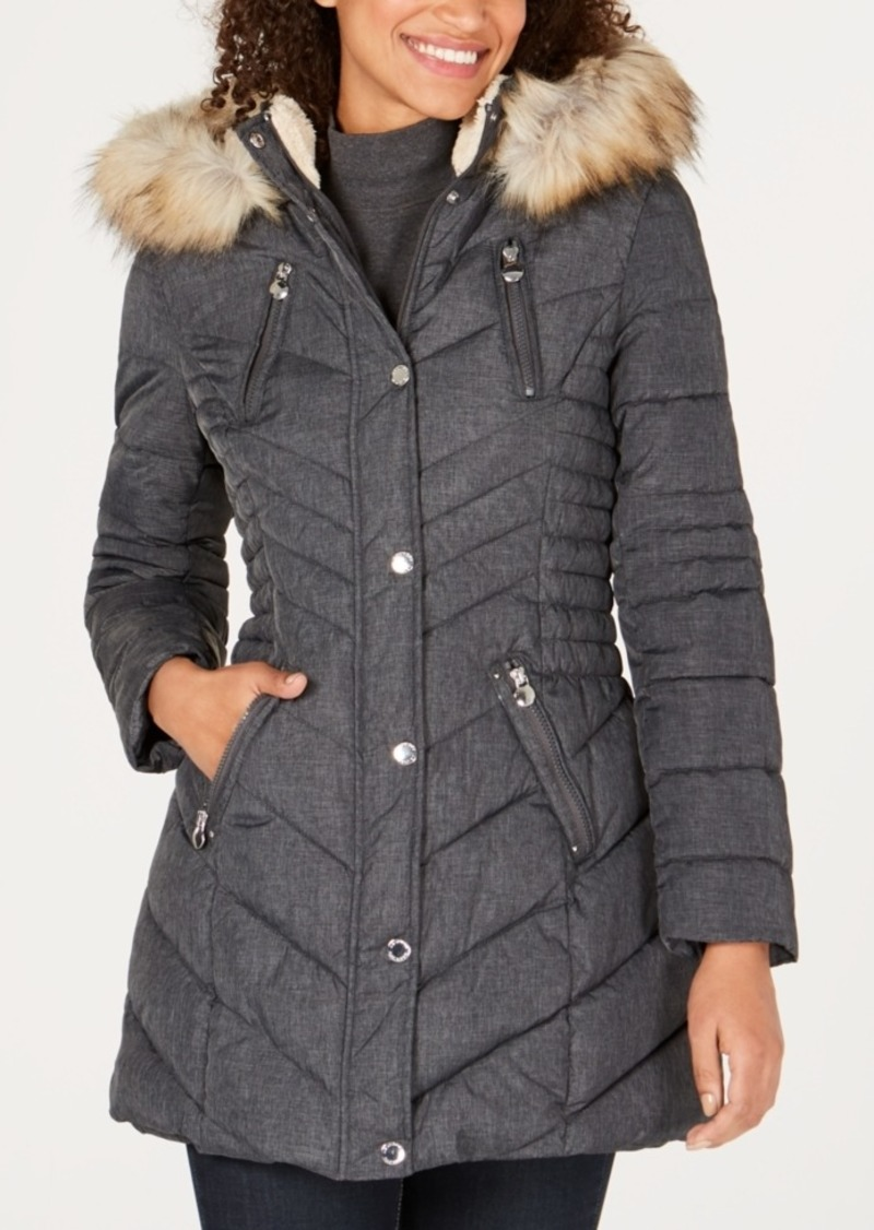 Laundry by Shelli Segal Faux Sherpa Hooded Cinched Waist Puffer Coat