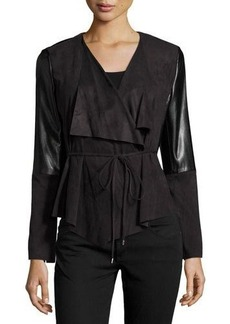 Laundry By Shelli Segal Faux-Suede & Faux-Leather Drape Jacket