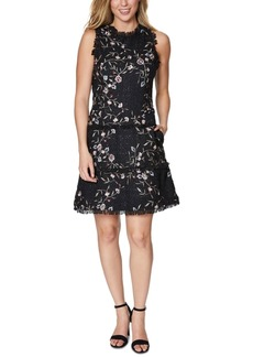 Laundry by Shelli Segal Floral Embroidered Tweed Dress