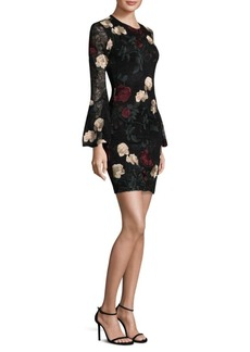 Laundry by Shelli Segal Floral Embroidery Bell-Sleeve Dress