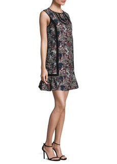 Floral-Print Jacquard Shift Dress