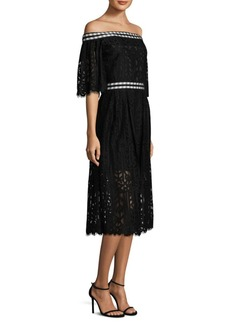 Laundry by Shelli Segal Floral Lace Midi Dress