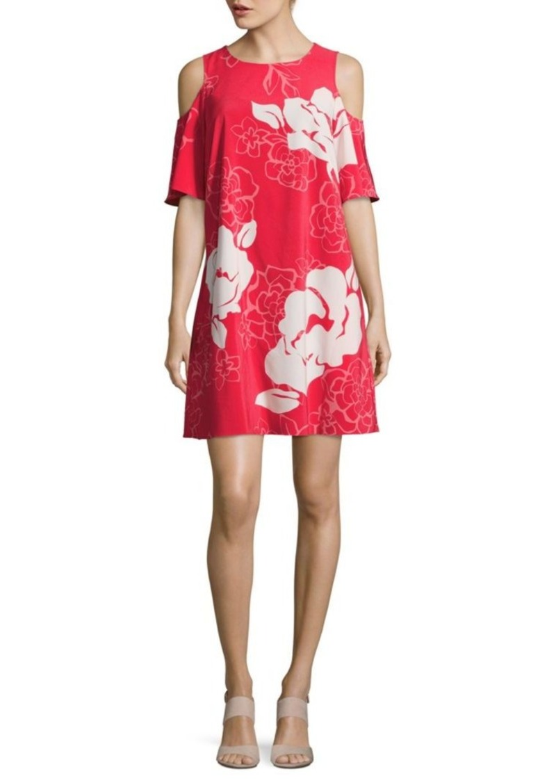 Laundry by Shelli Segal Floral-Print Cold-Shoulder Shift Dress