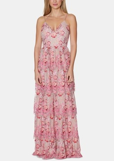 Laundry by Shelli Segal Floral-Print Lace Tiered Gown