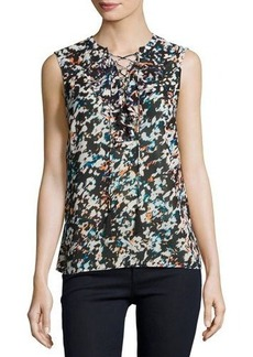 Laundry By Shelli Segal Floral-Print Lace-Up Chiffon Top