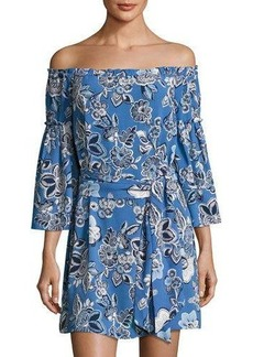 Laundry By Shelli Segal Floral-Print Off-the-Shoulder Belted Dress