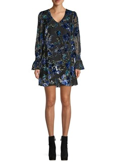 Laundry by Shelli Segal Floral Velvet Burnout Flounce Dress