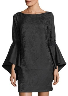 Laundry By Shelli Segal Flounce-Sleeve Jacquard Dress