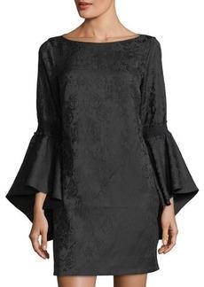 Laundry By Shelli Segal Flounce-Sleeve Jacquard Dress