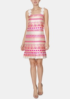 Laundry by Shelli Segal Flower-Strap Jacquard Dress
