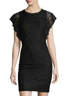 Laundry By Shelli Segal Flutter-Sleeve Lace Dress