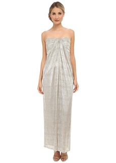 Laundry by Shelli Segal Foil Crinkle Knit Strapless Gown