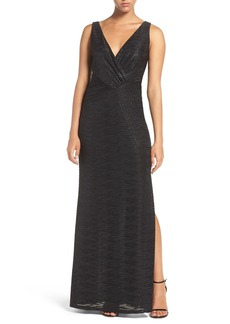 Laundry by Shelli Segal Foil Knit Gown (Regular & Petite)