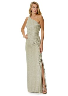Laundry by Shelli Segal Foiled One-Shoulder Gown
