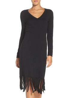 Laundry by Shelli Segal Fringe Midi Sweater Dress