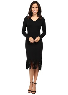 Laundry by Shelli Segal Fringe Sweater Dress