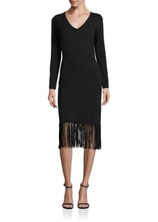 Laundry by Shelli Segal Fringed Hem Sheath Dress