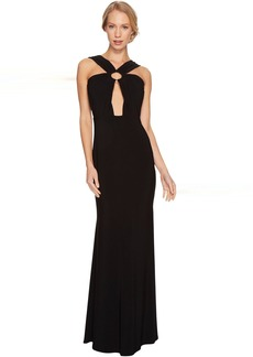 Laundry by Shelli Segal Front Keyhole Gown with Metal Ring