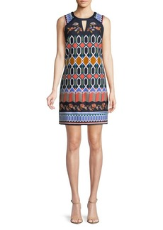Laundry by Shelli Segal Geometric and Floral-Embroidered Shift Dress