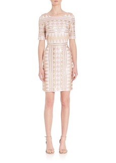 Laundry by Shelli Segal Geometric Sequin Embellished Dress