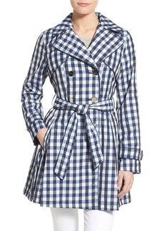Laundry by Shelli Segal Gingham Print Double Breasted Trench Coat