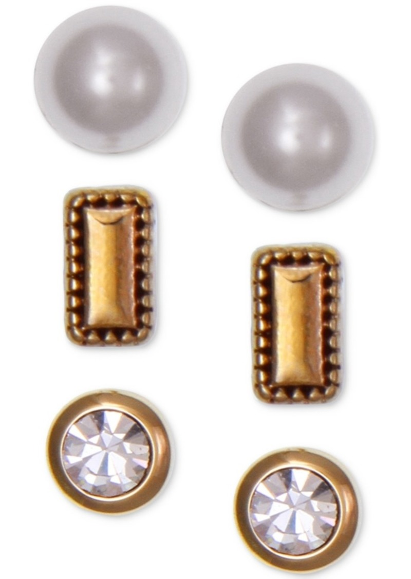 Laundry by Shelli Segal Gold-Tone 3-Pc. Set Crystal & Imitation Pearl Stud Earrings