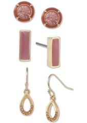 Laundry by Shelli Segal Gold-Tone 3-Pc. Set Crystal & Stone Earrings