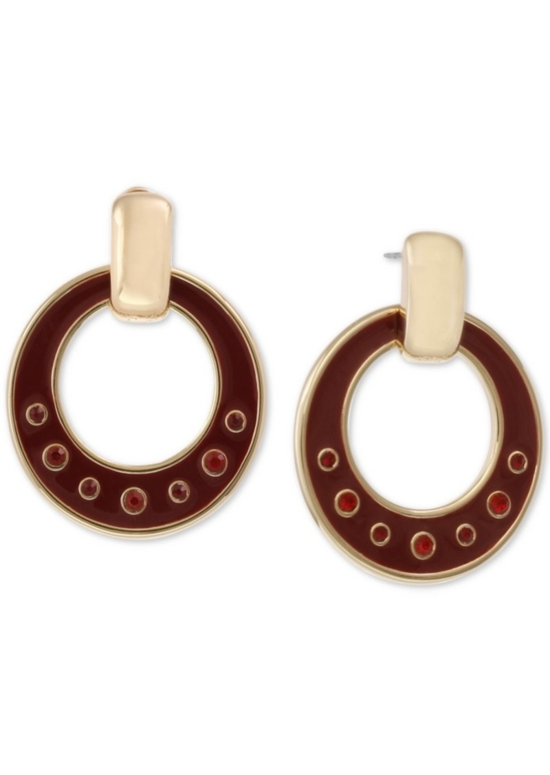 Laundry by Shelli Segal Gold-Tone Crystal & Enamel Drop Hoop Earrings