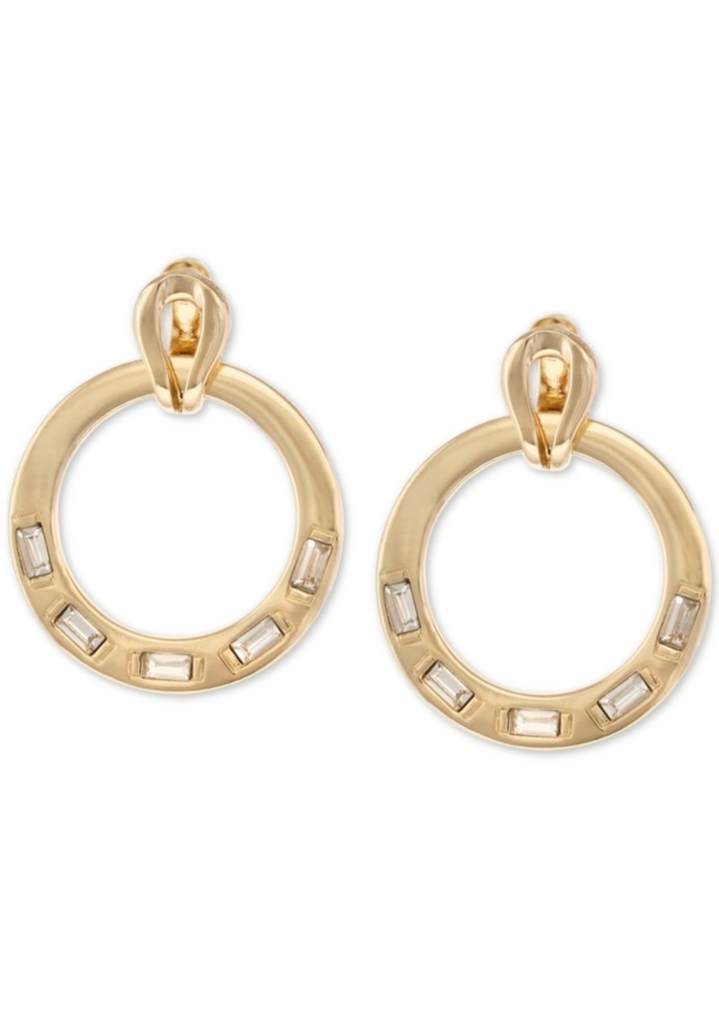 Laundry by Shelli Segal Gold-Tone Crystal Doorknocker Drop Earrings