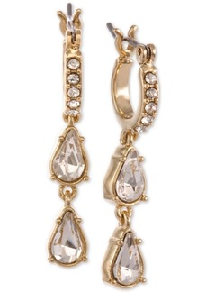 Laundry by Shelli Segal Gold-Tone Crystal Mini-Hoop with Double Drop Earrings