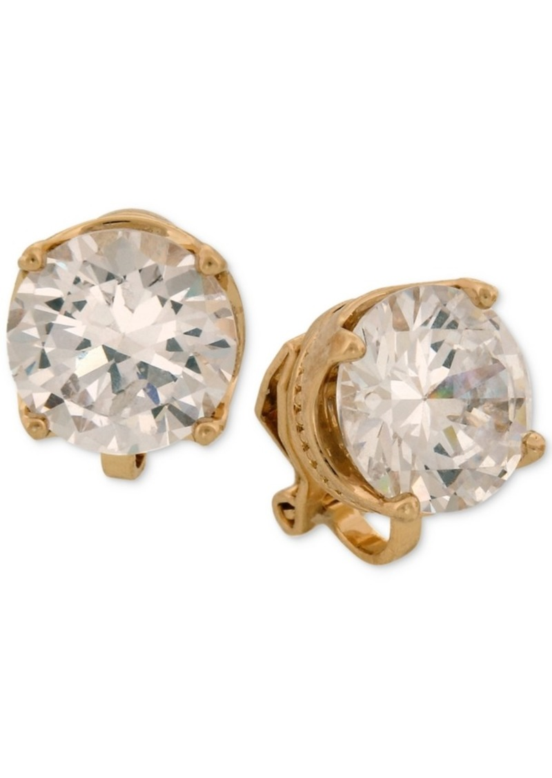 Laundry by Shelli Segal Gold-Tone Cubic Zirconia Clip-On Stud Earrings