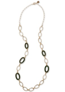 "Laundry by Shelli Segal Gold-Tone Green Oval-Link 20"" Statement Necklace"