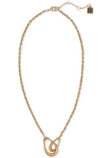 "Laundry by Shelli Segal Gold-Tone Interlocking Teardrop Ring Pendant Necklace, 16"" + 2"" extender"