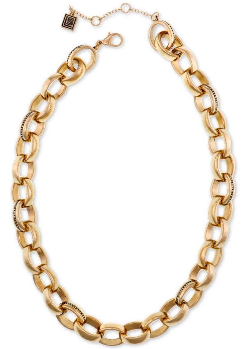 "Laundry by Shelli Segal Gold-Tone Large Link Collar Necklace, 16"" + 2"" extender"