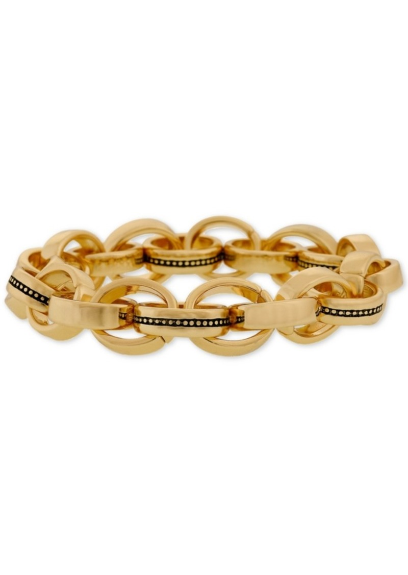 Laundry by Shelli Segal Gold-Tone Multi-Ring Link Stretch Bracelet