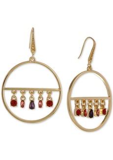 Laundry by Shelli Segal Gold-Tone Multicolor Crystal Charm Drop Hoop Earrings