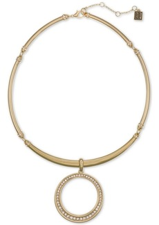 "Laundry by Shelli Segal Gold-Tone Pave Circle Flexible Collar Pendant Necklace, 16"" + 2"" extender"
