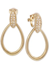 Laundry by Shelli Segal Gold-Tone Pave Clip-On Drop Earrings