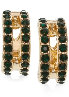 Laundry by Shelli Segal Gold-Tone Pave Double-Row Clip-On Huggie Hoop Earrings