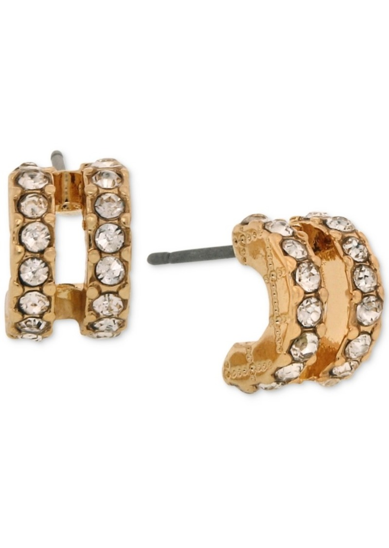 Laundry by Shelli Segal Gold-Tone Pave Double-Row Mini Hoop Earrings