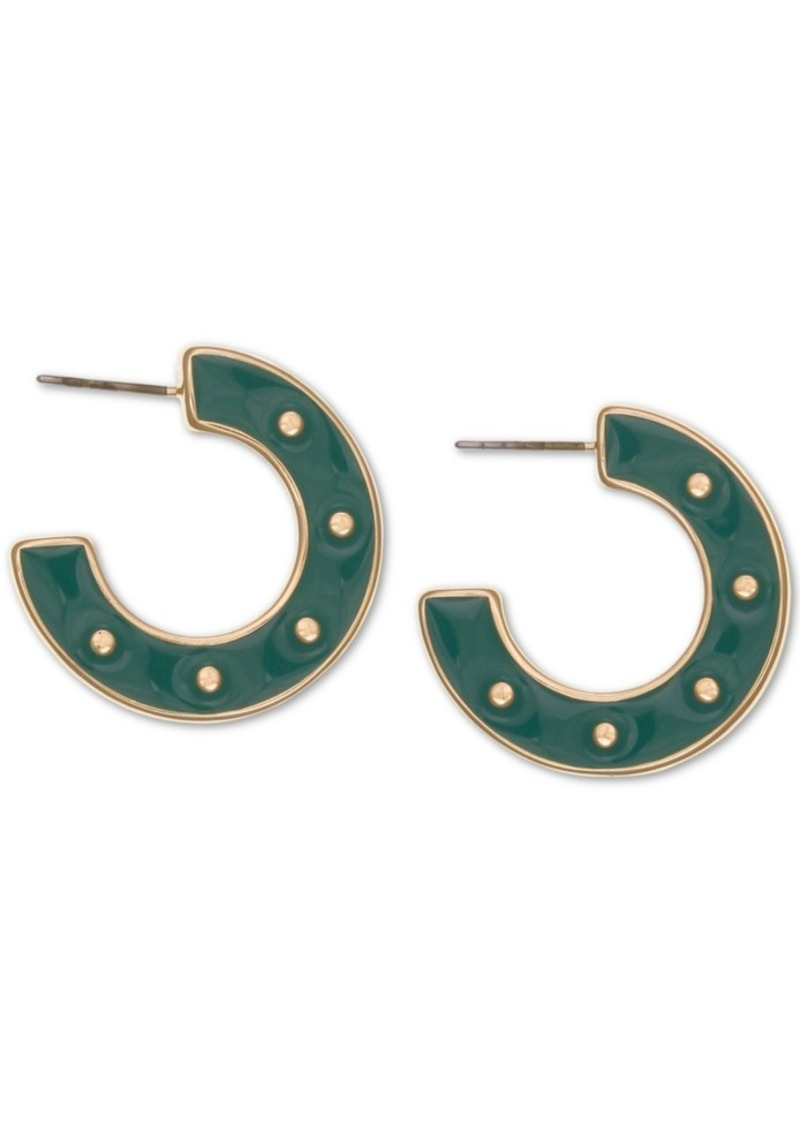 Laundry by Shelli Segal Gold-Tone Resin Button Hoop Earrings