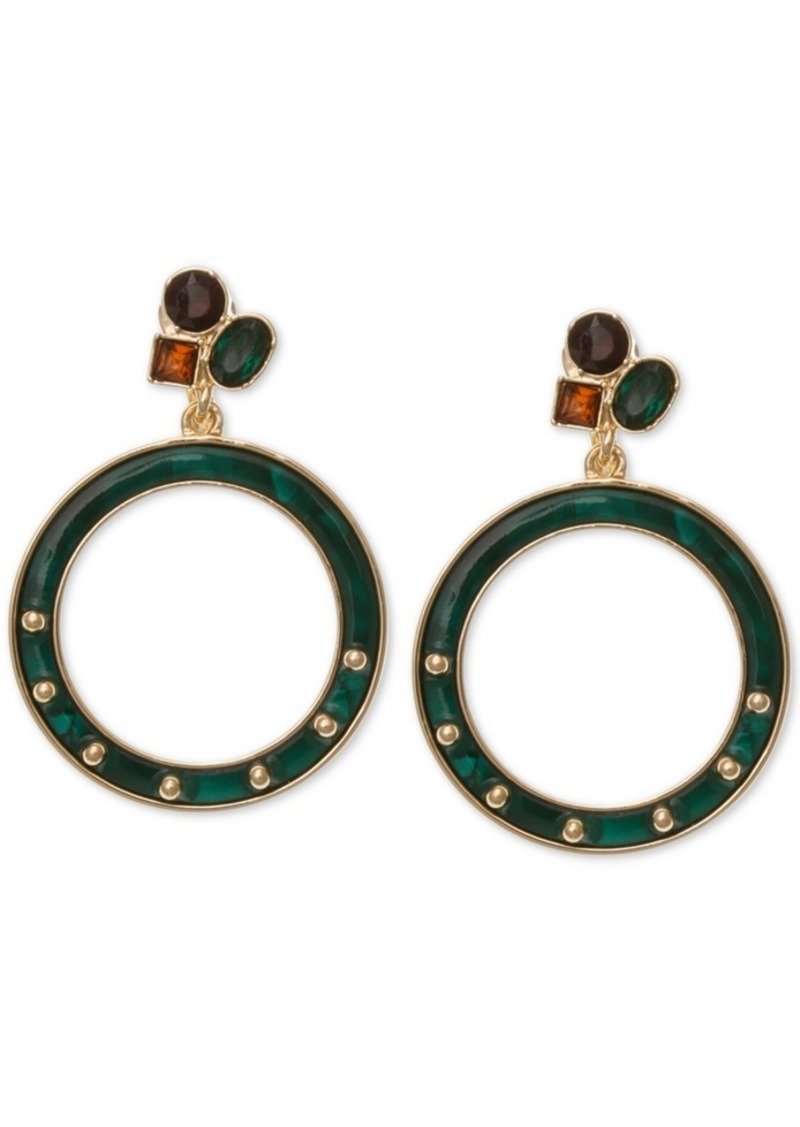 Laundry by Shelli Segal Gold-Tone Resin Doorknocker Drop Earrings