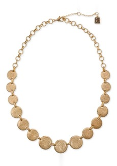 "Laundry by Shelli Segal Gold-Tone Textured Disc Collar Necklace, 16"" + 2"" extender"