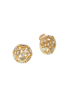Laundry by Shelli Segal Goldtone & Crystal Clip-On Button Earrings