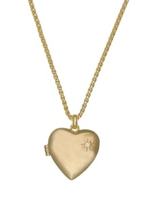 Laundry by Shelli Segal Goldtone & Crystal Heart Locket Necklace