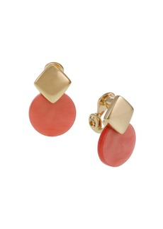 Laundry by Shelli Segal Goldtone and Resin Disc Drop Clip Earrings