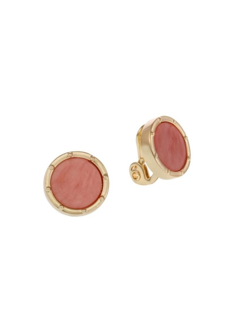 Laundry by Shelli Segal Goldtone Coral Stud Clip Earrings