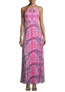 Laundry by Shelli Segal Halter-Neck Plisse-Skirt Gown